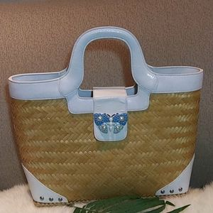 Lily Pulitzer straw butterfly studded tote